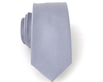 Grey Silk Mens Skinny Necktie With *FREE* Matching Pocket Square Set