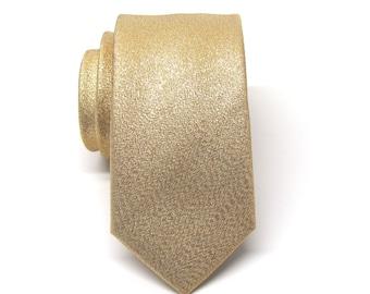 Mens Ties Necktie Metallic Lamé Gold Metallic Skinny Tie