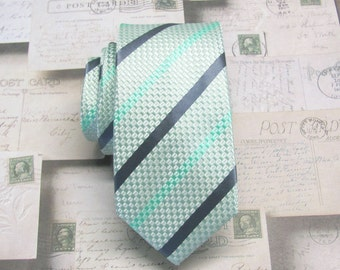 Mint Mens Skinny Tie. Mint Green and Gray Stripes Skinny Mens Necktie With Matching Pocket Square Option