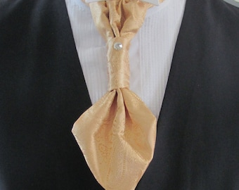 Mens Dusty Gold Paisley Ascot Cravat Pre Tied Mens Ascot With Crystal Stick Pin Formal Ascot