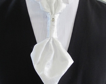 Mens White Paisley Ascot Cravat Pre Tied Mens Ascot With Crystal Stick Pin Formal Ascot