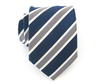 Mens Tie. Blue Gray Stripes Mens Necktie