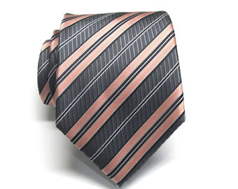 Coral Ties. Mens Ties Coral Charcoal Gray Stripes Necktie With Matching Pocket Square Option. Wedding ties.