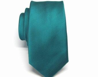 Mens Ties Peacock Teal Green Stripes Skinny Necktie