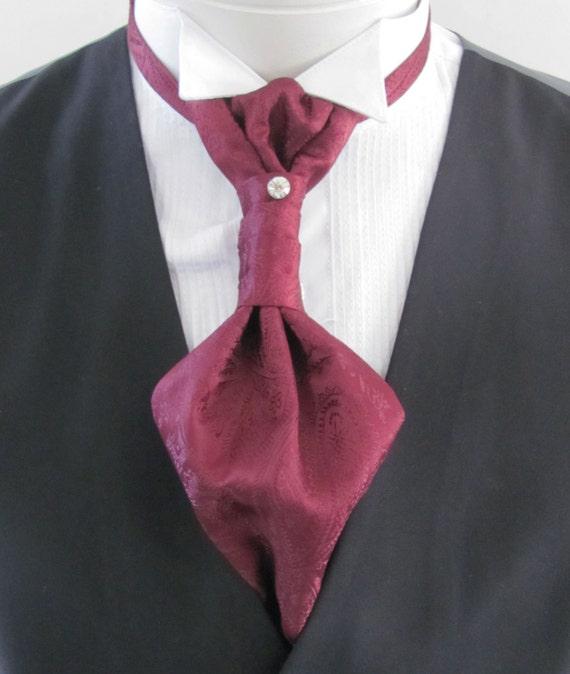Pre Tied Blue /& Burgundy Vintage Paisley Silk Satin Ascot Cravat /& Handkerchief