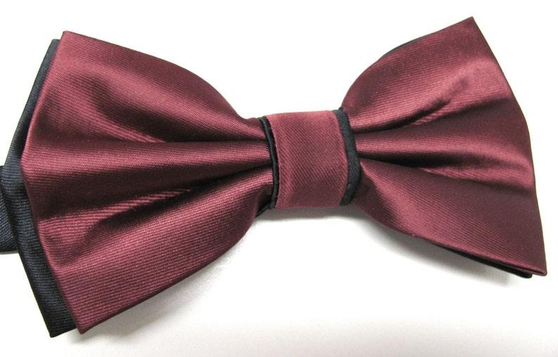 ebb0517cb79f1 Mens Bow Ties. Burgundy Black Bow Tie. Wedding Bow Ties   Etsy