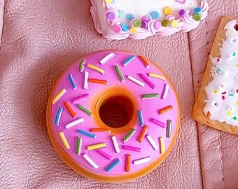 Rockabilly Pinup Brooch, Donut Brooch, Miniature Food, Large Pink Chocolate Doughnut Pin, Retro Food, Kawaii Brooch