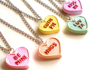 Conversation Heart Necklace Valentines Day Necklace Pink Pastel Candy Necklace Kawaii Jewelry Mini Food Jewelry