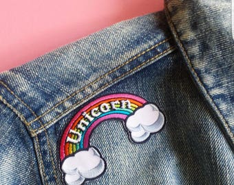 Rainbow Patch Unicorn Patch Iron on Embroidered Kawaii Patch 90s Little Pony Badge