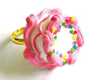 Pink Birthday Cake Ring Pink Cake Ring Kawaii Jewelry Birthday Jewelry Rainbow Cake Ring - Miniature Food Jewelry