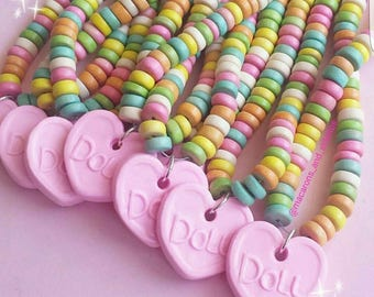 Custom Name Necklace, Personalized Candy Necklace, Pastel Candy Choker, Rainbow Kawaii Food Jewelry