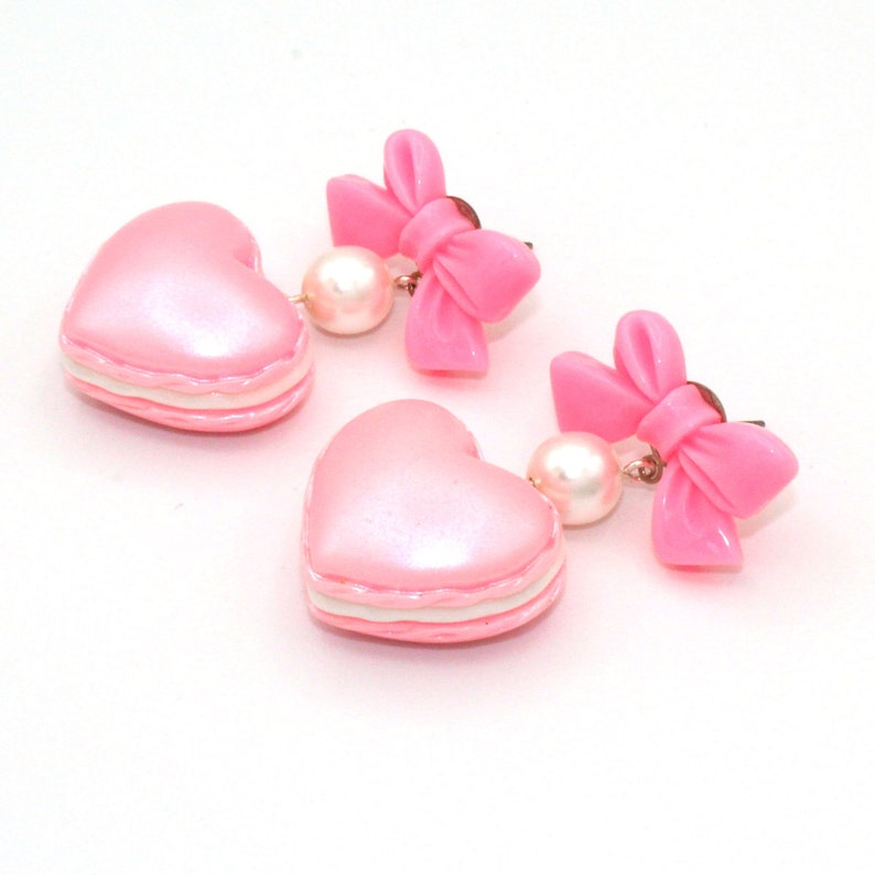 Macaron Heart Earrings Bow and Pearl Valentines Day Earrings Pink Pastel Candy Earrings Kawaii Jewelry
