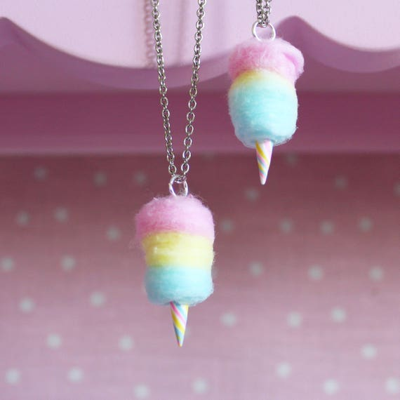 cotton candy necklace rainbow cotton candy jewelry