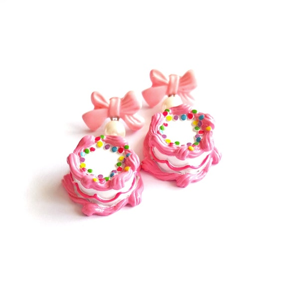 Pleasing Pink Birthday Cake Earrings Cakes And Bows Earrings Pink Etsy Funny Birthday Cards Online Sheoxdamsfinfo