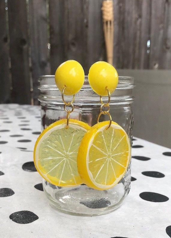 Fruit Slice Jewelry Lime Fruit Slice Dangle Earrings Carmen Miranda Kitschy Fun Statement Jewelry