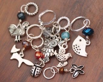 Stitch Marker Knitting Accessory - Rural Life - Set of 8 various sizes