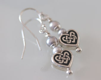 Sterling Silver Celtic Heart Earrings with Freshwater Pearl Accent