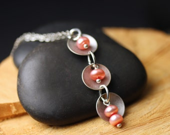 Petite Pink Pearl Drop Necklace - Freshwater Pearls and Antiqued Silver Disks on Rhodium plated chain