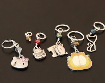 Stitch Markers - Must Love Cats - Famous Cats - Set of 6 various sizes