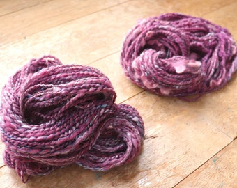 Two Skein Handspun Yarn Bundle Cormo 2 ply Hand Processed Hand Dyed