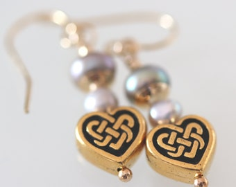 Gold-Filled Celtic Heart Earrings with Freshwater Pearl Accent