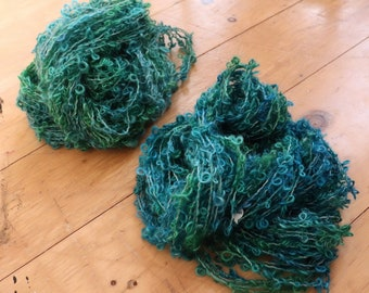 Stash Buster Two Skein Handspun Art Yarn Bundle Boucle Hues of Green Hand Processed Hand Dyed Clearance