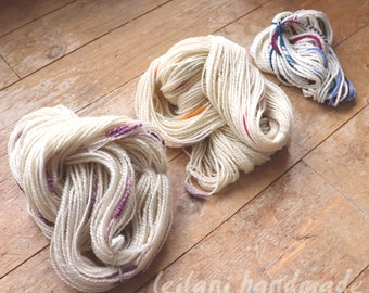 Stash Buster: 3 Skein Handspun Yarn Coopsworth and Merino Art Yarn Discounted Set Stacks Felted Inclusions and Chain Ply