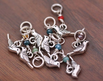 Teeny Tiny Stitch Markers - Little Bird - for size US2.5 knitting needles or smaller Sock knitters Lace knitters Set of 8