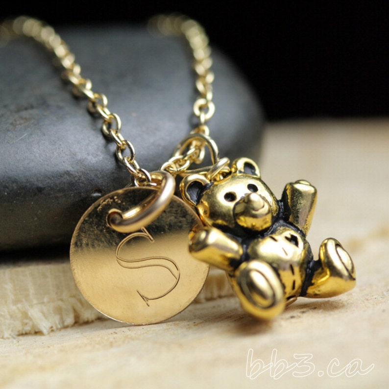 Teddy Bear Keepsake Necklace 14kt Gold-Filled Engraved Letter Name Jewelry