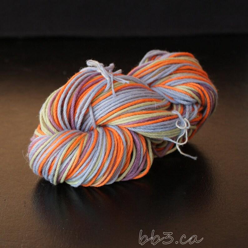 Hand Dyed Yarn 85 percent Cotton 15 percent Silk Canadian Yarn Dyers OOAK Art Yarn