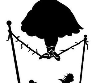Haunted Mansion vinyl decal, car decal - Tightrope - Parasol lady - stretching portrait