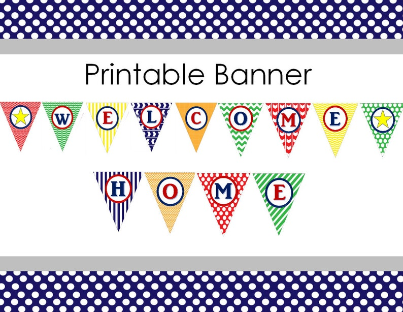 photograph regarding Welcome Home Banner Printable referred to as Printable Welcome Residence Banner for Youngster Boy or Missionary