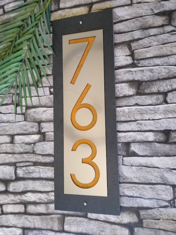 Modern Address Plaque Mid Century House Numbers Vertical Etsy