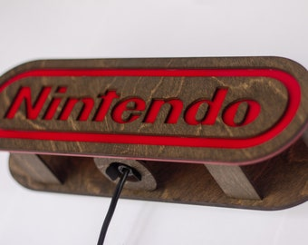 Nintendo lamp - end table or wall mounted - beautiful vibrant acrylic and wood