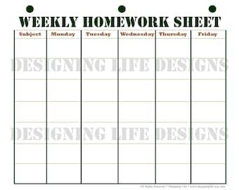 Homework Planner Etsy