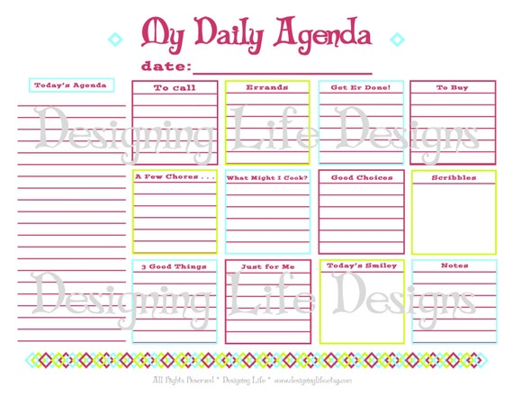 daily agenda printable daily planner page pdf to do list organizer
