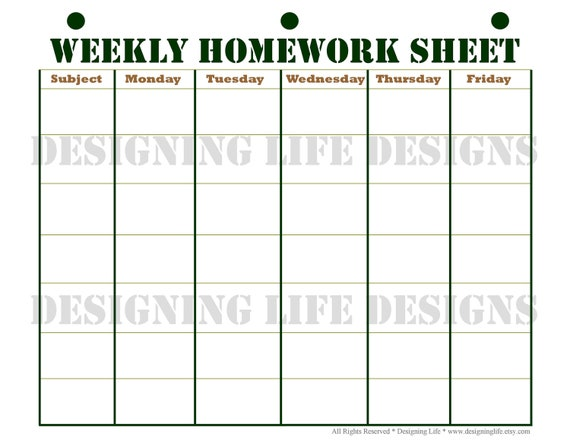 Homework Planner Schedule and Weekly Homework Sheet | Etsy