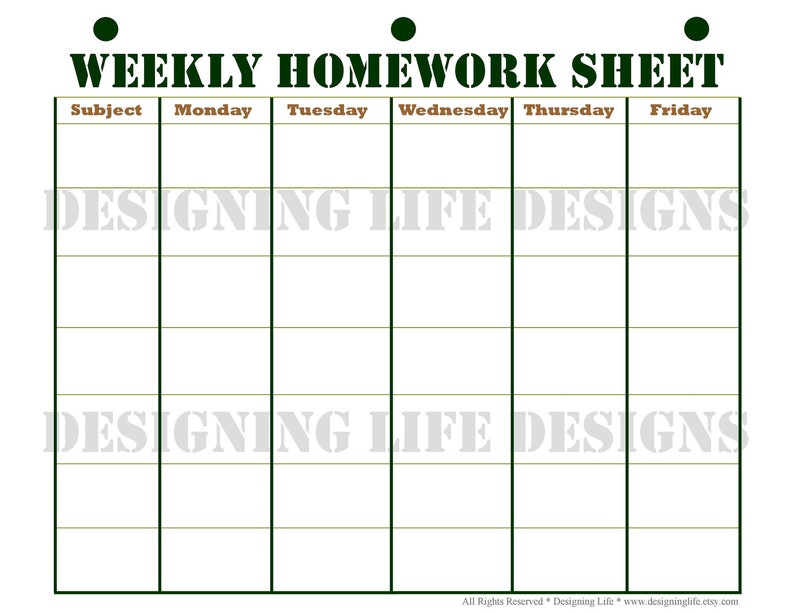 Homework Planner, Schedule, and Weekly Homework Sheet - Student Printable