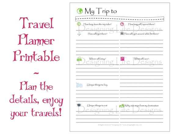 graphic about Travel Planner Printable identify Holiday vacation Generate Planner Printable PDF Sheets - My Holiday Towards Wherever