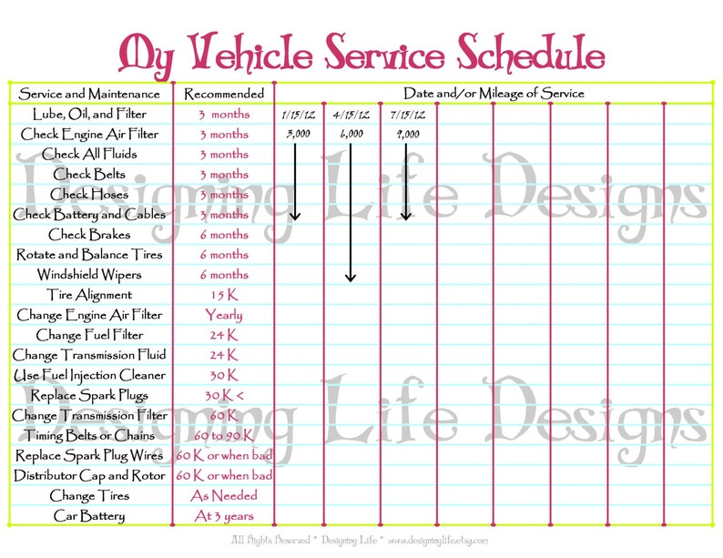 image about Car Maintenance Schedule Printable identified as Car or truck Timetable Printable - Editable Support Log - Property Binder