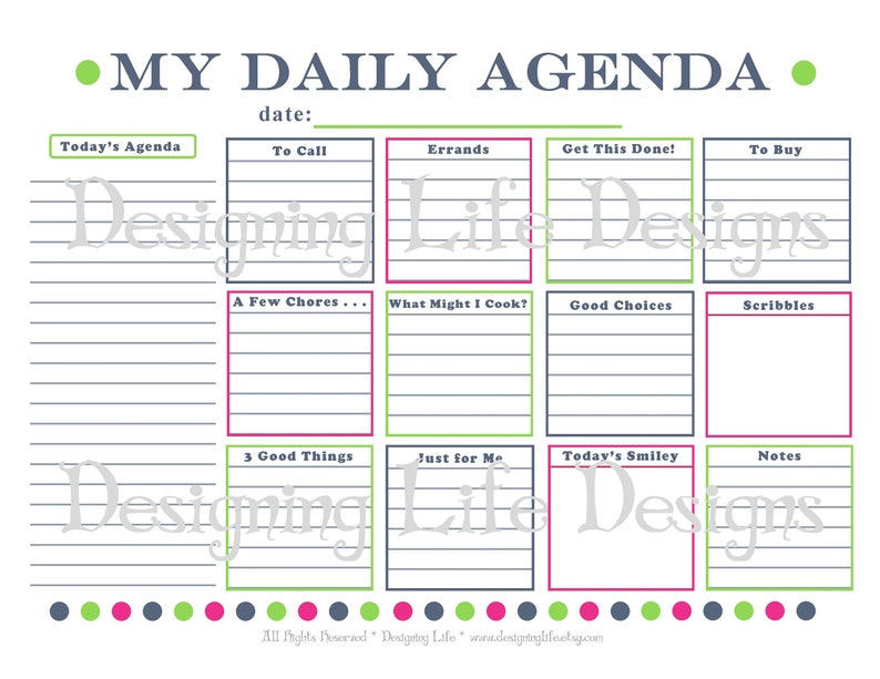 picture regarding Daily Planner Page identify Everyday Schedule Printable - Each day Planner Webpage - PDF Towards Do Record Organizer