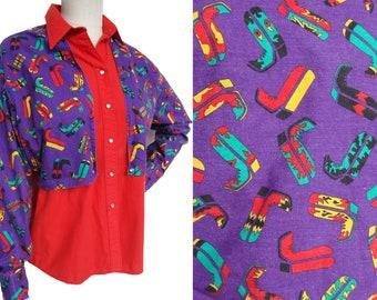 b32bf9560bb Vintage 80s Western Shirt Rockmount Ladies Rodeo Boots Cotton Novelty Print  L XL