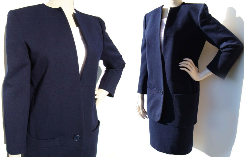 86f164797a48 Vintage 80s Dior Couture Suit Ladies Navy Wool Jacket   Skirt