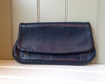 Vintage Navy Blue Leather Clutch Vintage Purse Envelope Clutch Leather Handbag San Diego California USA CopperLocks Vintage