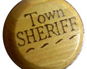 Wooden Yo Yo - Woodburnt SHERIFF BADGE\/LONESTAR Design - FREE PERSONALIZATION