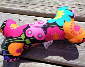 Squeaky Dog Chew Toy, Dog Toy, Upcycled Dog Toy - Medium - Funky Floral