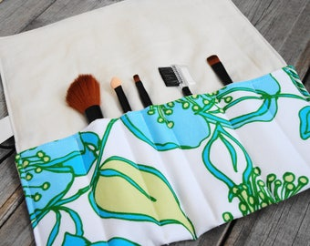 Makeup Brush Roll, Cosmetic Brush Roll - Blue Floral