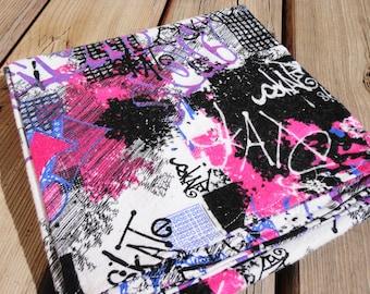 Receiving Blanket, Flannel Baby Blanket - Graffiti