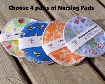 Reusable Nursing Pads, Cotton & Waterproof Nursing Pads - 4 pairs