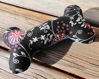 Dog Toy, Chew Toy, Dog Bone - Medium - Black & Red Print